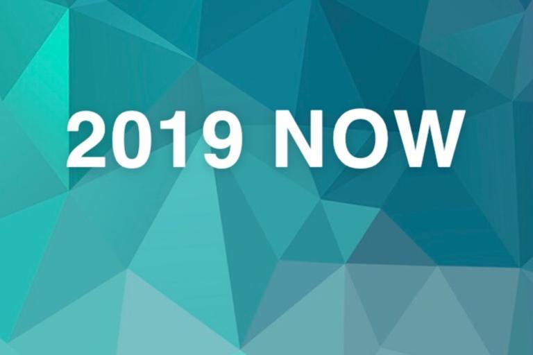 image of the words 2019 NOW over a teal blue background