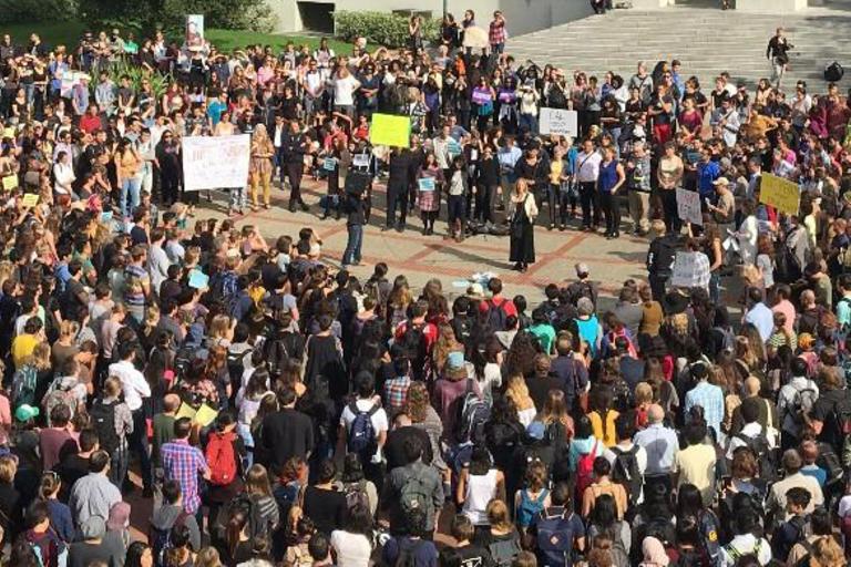 Faculty rally closeup