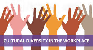 image of different color hands with text that read 'cultural diversity in the workplace'