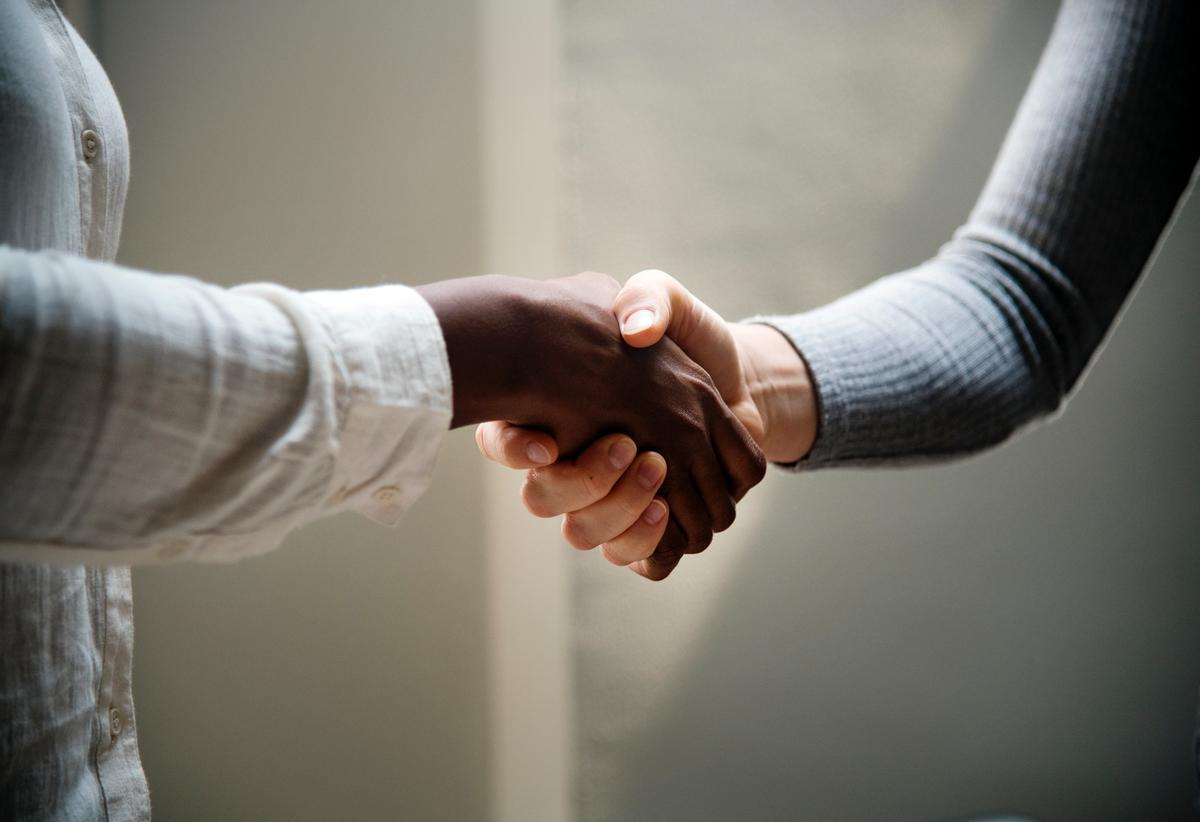 image of a white hand shaking a black hand indicating partnertship